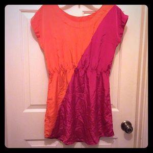 Fun & Flirt S orange pink poly short dress